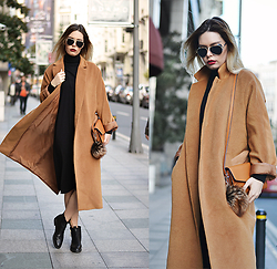 Kseniya Celikdelen - Koton Coat, Zara Boots, H&M Dress - CHESTNUT