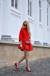Lavinia F - Sheinside Jumper, Sheinside Skirt - All red