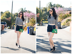 Lisa Valerie Morgan - Abercrombie & Fitch Top, Abercrombie & Fitch Shorts, Furla Bag, Rag & Bone Trainers - Striped!