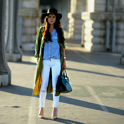 Lucila LC - Zara Duster Coat, Zara Blouse, J Brand Skinny Jeans - Sunset in paris