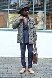YinkaJermaine - Allsaints Fedora, H&M Military Jacket, Mango Double Breasted Suit, Paul Smith Wool Scarf, Giorgio Armani Tie, Monk Straps - Unorthodox Tailored Look: Military Jacket