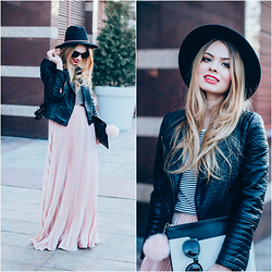 Julie P - Shein Pink Pleated Skirt, Shein Leather Jacket, Primark Hat, Primark Clutch, Zerouv Sunglasses - Pink pleated skirt