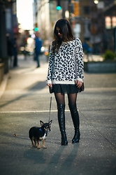Maria P - Kling Black And White Fuzzy Leopard Sweater, Dealsale Chiffon Shift Dress (Worn As Skirt), Aliexpress Over The Knee Boots, Mango Black And Gold Studded Bag, Stradivarius Black Round Sunglasses - Fuzzy Leopard