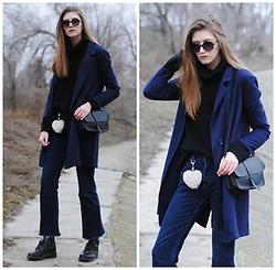Yulia Sidorenko - H&M Boots, Wholesalebuying Coat, Sammydress Bag, Sinsay Sunglasses, H&M Sweater - Flare cropped jeans. Part 1