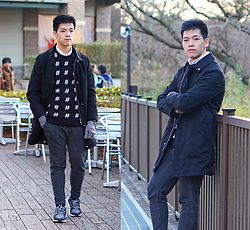 Angel Tacbad - H&M Hashtag Sweater, Uniqlo X Lemaire Hooded Coat, Adidas Ultra Boost Shoes - #Noir