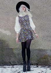 Sotzie Q - Wholesale7 Balloon Sleeve Blouse, H&M Floral Skater Dress, Unif Black Platform Boots - Lost love
