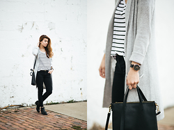 Chloe Hall - American Eagle Outfitters Top, Madewell Black Jeans, Clarks Boots, Mvmt Watches Watch, Gap Cardigan - Stripes