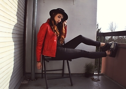 Jess Skellington - Romwe Creepers, Red Leather Jacket, Hat, H&M Jeans - 22