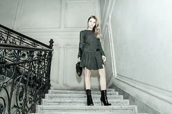 Eugenia Bulah - Zara Green Wool Dress, Versace For H&M Suede Heeled Boots, Michael Kors Black Leather Clutch - Warrior