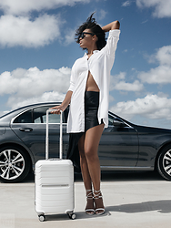 Aicha R. - Alexander Wang Streamer Skirt, The Great Beyond Helene Shirt Dress, Samsonite Octolite Spinner Carry On Suitcase - Time for Lift Off
