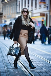 Sonja Kovac - Coat, Necklace, Celine Sunglasses, Choies Skirt, Calvin Klein Bag, Sam Edelman Boots - CAMEL WRAP MIDI PENCIL SKIRT