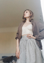 Carla V - Marks & Spencer Suede Bomber, Thrifted Lace Bralette, Asos Skirt - Requiem for summer