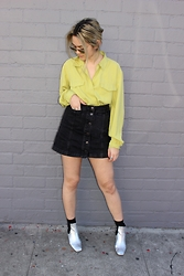 Amanda Hipperson - Long Sleeve Button Up, Topshop Black Denim Skirt, Topshop Silver Boots - Galactic girl