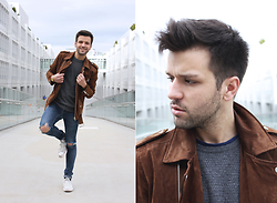 Marc Galobardes - Zara Brown Biker, Pull And Bear Skinny Jeans, United Colors Of Benetton Sweater - BROWN BIKER