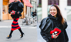 Thythu NGUYEN - Xuan Paris Grey Coat, Sonia Rykiel Red Black Skirt, Laurence Dacade Boots, Skinny Dip Lips Clutch - Haute Couture Week