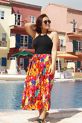 Shahani Lopez - Foreversummerph Scallop One Piece, Thrift Shop Colorful Maxi Skirt, Parisian Inona Black - Colorful skirt for this colorful view