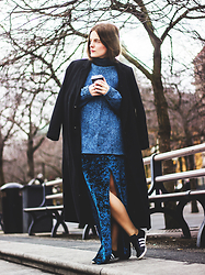 Ingrid Wenell - Cheap Monday Coat, My Boyfriend´S Sweater, H&M Velvet Maxi Dress, Adidas Sneakers - SFW Day 2