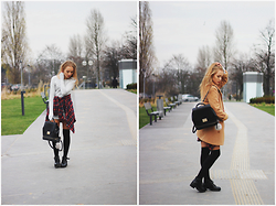 Aleksandra Wądołowska - Sheinside Grey Dress, Sheinside Brown Coat, Zara Backpack, Choies Shoes - Grey Dress & Brown Coat