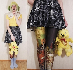 Lindwormmm - Black Milk Clothing Gray Monster Skater Skirt, Thrifted Yellow Haribo Teddy Backpack, Thrifted Yellow Tshirt, Thrifted White Collar, Diy Rainbow Haired Girl Brooch - Sad yellows