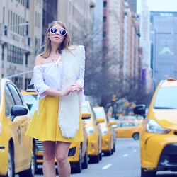 Julia - Zara Shirt, H&M Skirt, No Weekends Sunglasses, Jane Stone Necklace - Yellow cabs
