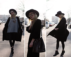 Annette Zer - Dressin Silver Necklace, Cndirect Sunglasses, Tom Tailor Black Leather Bag, Gina Tricot Wool Black Cardigan, Primark Black Hat, Dealsale Black Leggings - Marry someone who can cook. looks fade, hunger doesn't