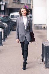 Gabriela A. - Patrat Burgundy Clutch, Hannami Over The Knee Boots, Promod White Turtleneck - His jacket on my shoulders