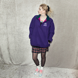 Monika Sekowska - Outward Bound Purple, Pink & Green Fleece, Second Hand Shop Vintage Tartan Skirt, Nike White Logo Socks, F&F Pastel Holographic Sneakers - Sporty & cute