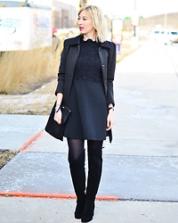 Tatiana M - Asos Coat, Zara Dress, Zara Boots, Kate Spade Wristlet - Black on Black