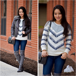 Kimberly Kong - Bcbg Jacket With Faux Fur Trim, Boohoo Flat Over The Knee Boots, Levi's Skinny Jeans, Paul's Boutique London Ltd. Studded Gray Crossbody Bag, Banana Republic Fringe Sweater - The Perfect Fringe Sweater