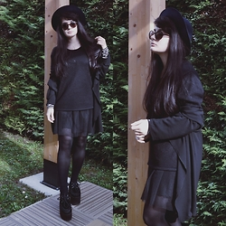 Anna Garavello - Thrifted Hat, Pimkie Round Sunglasses, Chiffon Cardigan, Pinokkio Tulle Skirt, Tally Weijl Striped Top, Mommy Wardrobe Wool Top, Essexglam Triple Sole Creepers - Witchy clothes? Chiffon Cardigan