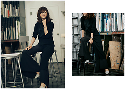 Diana Z Wang - Sashion Asymmetrical Dress, C/Meo Collective Flared Pants, Vince Pumps - High-Low x Flared