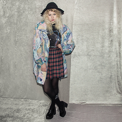 Monika Sekowska - H&M Black Fedora Hat, Second Hand Shop Vintage Abstract Parka, Second Hand Shop Vintage Tartan Skirt, Second Hand Shop Vintage Star Wars Shirt, Unif Long Black Logo Socks - Vintage abstract parka