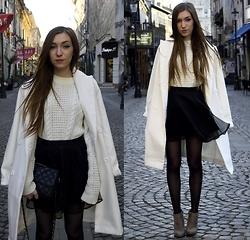 Andreea Miclăuş - Bonprix White Coat, Asos White Knit Sweater, H&M Black Tulle Skirt, Caramel Black Chained Bag, Bonprix Grey Boots - //lost somewhere between winter and spring