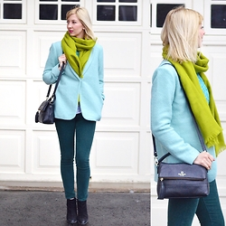 Tatiana M - Chapters Indigo Scarf, Forever 21 Coat, J. Crew Pants, Kate Spade Bag, Asos Boots - Playing with Greens