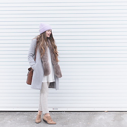 Rebecca Jacobs - Vintage Booties, Forever 21 Faux Fur Scarf, Bb Dakota Grey Collarless Coat - Winter Pastels