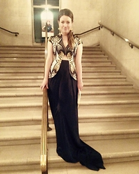 Noelle Lynne - Tina Lobondi Navy Blue & Print Evening Gown With Train, Lauran Merkin White Clutch, Neiman Marcus Gold And Swarvorski Ball Earrings - Black Tie for the Ballet in San Francisco