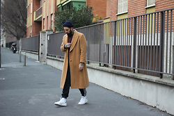 Will Willo - Vintage Coat, Topshop Beanie, Adidas Track Suit Pants, Adidas Sneakers - CAMEL COAT