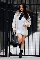 Kimberly Kong - Tobi Shift Dress With Tie Neck, Amiclubwear Oversized Ivory Cardigan, Chanel Black Boy Bag, Nine West Chunky Black Boots - The Oversized Cardigan: Comfort and Style in One