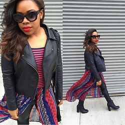 Christian Riley - Tommy Hilfiger Striped Shirt, Forever 21 Faux Leather Jacket, H&M Faux Leather Pants, Urban Outfitters Boots - Slay Away