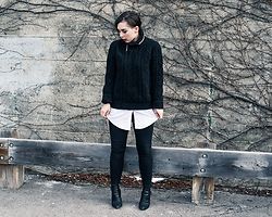 Meag Sheehan - H&M Sweater, Forever 21 White Button Down, Topshop Jeans, Aldo Boots - How To Style Knits