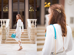 Silver Girl - Tintoretto White Jumpsuit, Versace Aqua Blue Handbag, Zara Golden Gladiators, Claire's Golden Leaves Headband - THRONE OF DUBAI