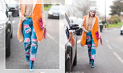 Miu PHAM - Urban Outfitters Embroidered Beanie, Msgm Faux Fur Coat, H&M Margiela X Metallic Candy Clutch, House Of Holland Patch Jeans, Office Shoes Ankle Boots - Colors Addicted