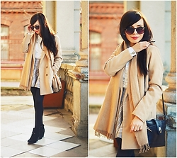 Ania W. - Sheinside Coat, Secondhand Bag - Beige coat and scarf