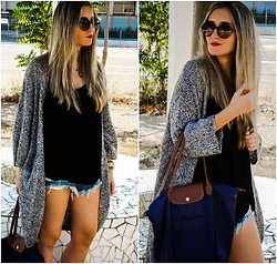 Maria M. - H&M Cardigan, Zara Top, H&M Shorts, Longchamp Bag, Marc By Jacobs Sunglasses - Warmer days.