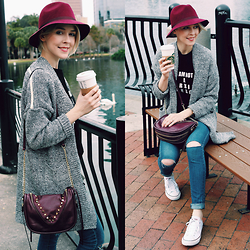 Zuzana - Tart Collection Hat, Romwe Chunky Cardigan, Reserved Ripped Jeans Diy, Converse White Sneakers, She+Lo Plum Crossbody - I'm Not a Morning Person
