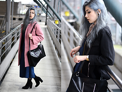 Léopoldine Cannibale - Mango Pink Coat, Idano One Pieces, Idano Best, Asos Bag, Simmi Boots - My heart says yes but my mind says no