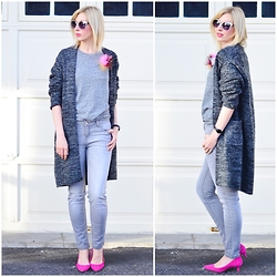 Tatiana M - Zara Cardigan, J. Crew Shirt, J. Crew Jeans, J. Crew Shoes, Asos Sunglasses - Shades of grey