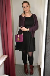 Sarah M - H&M Cardigan, L&L Dress, Michael Kors Watch, Aliexpress Bag, Pikolinos Ankle Boots - Black Dress