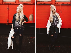 Aika Y - Sub Urban Riot Flannel Button Down, One Teaspoon Black Ripped Jeans, Jay Nicole Jewelry Wrap Necklace, Spell Designs White Chunky Cardigan, Aldo Ankle Booties, Mate The Label Printed Tank - Rock Your Gypsy Soul