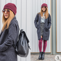 Diana Manolova - Only Coat, Zara Geometric Print Skirt, Zara Leather Backpack, Unknown Denim Shirt, Stradivarius Burgundy Stockings, Inshoes High Heeled Ankle Boots, Boyfriend's Burgundy Beanie, Unknown Round Sunglasses - Burgundy Accents